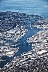 Salmon Bay (LongInt57) Tags: water ocean bay salmonbay pugetsound pacific seattle washington usa blue grey gray bridges inlet channel city lakewashingtonshipcanal