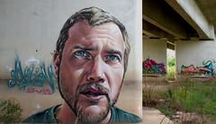 TGV bridge art (chriskatsie) Tags: streetart art train tren visage retrato portrait gard france