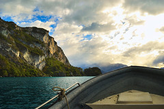 Heading back (sk Krouse) Tags: south southamerica chile mountain mountains nikon landscape landscapes scenery clouds travel travels patagonia adventure d3200 boat boats lighting lake lakes lakeview boating dramatic wild southern sur explore
