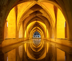 Arches and Reflections (Trouvaille Blue) Tags: europe españa spain seville sevilla alcazar water reflection arches trouvailleblue