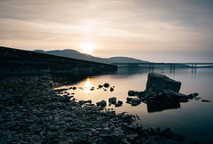 Llyn Trawsfynydd (PKpics1) Tags: snowdonia wales lake llyn trawsfynydd rock stone sunset sun bridge mountains silhouette calm sky water