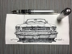 '65 Pony (schunky_monkey) Tags: illustration art drawing draw sketching sketch napkin pony automobile auto icon classic musclecar antique car mustang ford 1965