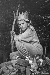 Max (Philip Bonneau) Tags: max wherethewildthingsare illustrations monsters paper pretend outdoors onesie man crown stick portrait blackandwhite pjs pajamas
