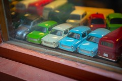 "Remembering the ""Trabbi"" ... models seen in a shop in Erfurt, Germany (Martin Bärtges) Tags: auto car trabbi trabant cityandthestreets cityscapes nikonphotography nikonfotografie d4 nikon outside outdoor drausen urban city deutschland germany erfurt farbtupfer farbenfroh colorful miniaturisierung miniaturen cars modelle models"