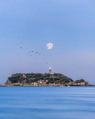 Enoshima Moonset (muuu34) Tags: moon full moonset enoshima shonan seascape morning dusk japan kanagawa fujisawa kamakura musashi sakazaki 江の島 江ノ島 月 月の入り 平成最後 平成最後の満月 湘南 湘南海岸 神奈川県 富士沢 鎌倉