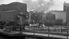 Klodzko PKP  |  1985 (keithwilde152) Tags: pt47 group klodzko silesia pkp poland 1985 depot town turntable railway operatives buildings architecture smoke steam locomotives blackandwhite outdoor winter