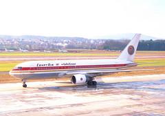 Egypt Air Boeing 767-200; SU-GAJ@ZRH;03.02.1996 (Aero Icarus) Tags: zrh zürichkloten zurichairport zürichflughafen lszh plane avion aircraft flugzeug negativescan