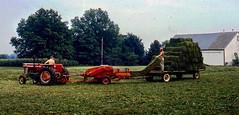 Baling hay  .  .  . (ericrstoner) Tags: balinghay tractor wagon haybaler newhollandhaybaler alfalfa barn lancaster lancastercounty pennsylvania manheimtownship