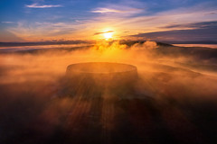 """Sunrise Mist at Grianan of Aileach"" (Gareth Wray - 12 Million Views, Thank You) Tags: grianan aileach lough swilly foyle ancient irish kings hill lookout fort sunrise misty mist fog fogy dew cloudy clouds ring ringed burt county donegal ireland summer landmark stone monument tourist site famous visit scenic countryside druid celtic gareth wray photography inishowen derry londonderry an angrainan sun inch island historic aerial drone dji phantom p4p pro quadcopter heather national gaelic photographer garethwrayphotography vacation holiday europe sunset kingdom architecture landscape 4 sky"
