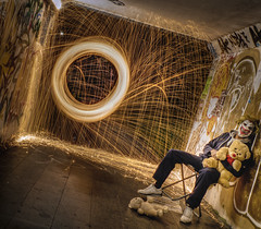 would you like to play with my teddy bear (Wizard CG) Tags: steel wool spinning light painting long exposure night photography sparks lawrence hill bristol wire wirewool hate clown nite nuts fire dark digital underpass subway lighting olympus epl7