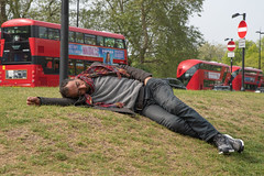 Sleeping beauty (davidjohnsphotography1) Tags: roma gypsy london sleeping passedout bus marblearch streetphotography street grass nikon tamron d5