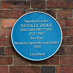 Blue Plaque in honour of Squadron Leader Neville Duke OBE The Causeway Horsham West Sussex (davidseall) Tags: blue plaque squadron leader neville duke obe the causeway horsham west sussex uk world air speed record 1953