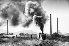 Towards Victoria Falls (channel packet) Tags: zimbabwe steam train garratt locomotive passenger smoke thomson junction monochrome transport railway railroad davidhill