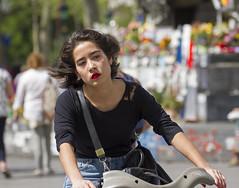 thinking (Henk Overbeeke Atelier54) Tags: girl street candid longhair biking bicycle vélo fiets paris