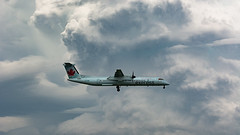 Stormy Q400 (Ben_Senior) Tags: montreal quebec canada montrealinternationalairport montrealairport dorvalairport dorval airport yul cyul bensenior planespotting nikond7100 nikon d7100 airplane plane airliner airline aircraft aviation cloud clouds cloudy storm stormy stormclouds cumulus cumulonimbus cb toweringcumulus tcu approach landing final finalapproach shortfinal cggmi bombardier dehavilland dehavillandcanada dh8d q400 dash8q400 aircanadaexpress aircanadajazz turboprop prop propeller ac aca jza qk