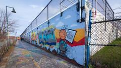 Murals (Me in ME) Tags: maine portland trail easternpromenade murals wallart grafitti fence hff peanuts pigpen