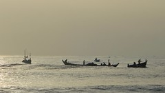 Fishing at Dawn ! (Rajesh_India) Tags: accra fishing ghana morning silhouette