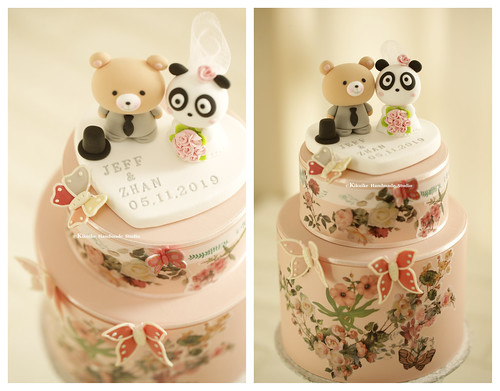 Cutest Wedding Cake Toppers.Handmade Panda And Bear With Initials Base Wedding Cake Topper Cute