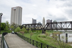 Home Sweet Home (aaron_gould) Tags: columbus ohio 614 d7000 nikkor outside design water sky tree art park landscape city bridge river