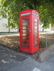 red box (chrisinplymouth) Tags: telephone payphone box booth kiosk devonport red plymouth devon england uk cw69x housingestate city diagx xg diagonal plain