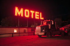(patrickjoust) Tags: fujica gw690 kodak portra 160 6x9 medium format c41 color negative film rangefinder 90mm f35 fujinon lens cable release tripod long exposure night after dark manual focus analog mechanical patrick joust patirckjoust southwest united states north america estados unidos neon motel sign hotel red tonopah nevada nv truck vehicle auto automobile lot desert small town