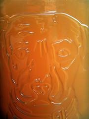 Subtle etching of a British bull dog in a John Bull beer glass in an Irish pub in Aalborg, Denmark (albatz) Tags: denmark orange minimal aalborg beer amber craftbeer pub subtle etching british bulldog johnbull glass irish