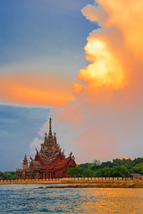 Fire (Pawel Wietecha) Tags: temple pattaya thailand clouds sunset sun sky blue red yellow orange lake water travel trip color light colours sea landscape seascape journey outdoor ocean sanctuaryoftruth reflection