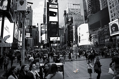 The Lamb Lies Down On Broadway (Anthony Mark Images) Tags: broadway timessquare nyc newyorkcity manhattan bigapple crowd lamb lyinglamb genesis petergabriel rockalbumconcept blackandwhite monochrome selectivecolour newyork nikon d850 flickrclickx songfrom1974 usa lambliesdownonbroadway