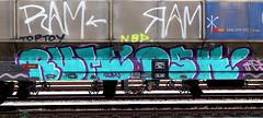 graffiti on freights (wojofoto) Tags: amsterdam nederland netherland holland graffiti streetart cargotrain freighttraingraffiti freighttrain freights fr8 vrachttrein wojofoto wolfgangjosten trein train rum dsk