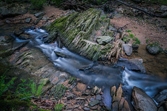 Craggy Rocks of Croydon Creek (John Brighenti) Tags: maryland rockville croydon montgomery county park forest woods creek outdoors outside nature natural spring may damp wet rainy cloudy sony alpha a7rii ilce7rm2 nex ilce emount femount longexposure stream water rapids flow waterfall rocks snad dirt stones pebbles 28mm sel28f20 wide angle green