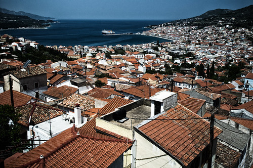 The panorama of Samos, Greece