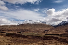 last snow of the winter (laird.lothar) Tags: scotland highland highlands loch tulla viewpoint argyyll 6 bute hills mountains snow sun winter blue sky clouds travel country countryside