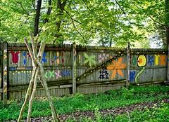 "Fantasy bivouac stockade fence (Jack Blackstone) Tags: ""smileonsaturday"" ""fancyfence"" heartland indiana americana landscape ""morninglight"" on1edit ""goldenhour"" light ""flickrfriday"" fence bivouac campground fantasy playground metro nature em1mkii graffiti"