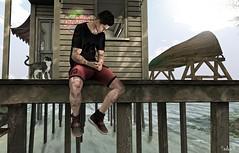 Summertime Sadness (Sadwolf SL Photos) Tags: fameshed gild nativeurban shades beach cat voodooland sea summer sadness shorts tshirt sneakers slblogger slphotographer avatar secondlife sl mesh bento
