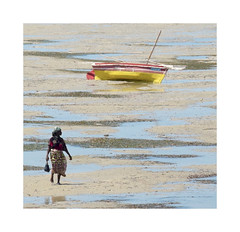 Shortcut Through the Sand Bar (The Spirit of the World ( On and Off)) Tags: iboisland mozambique africa eastafrica sand sandbar dhow reflection local woman ocean abstract water nature lowtide tide tidepools indianocean puddles