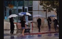 Bus stop (skizo39) Tags: woman rain umbrella bus street collage layers art digitalprocessing digitalart digitalpainting photomanipulation colors colorful graphical design creation artistic