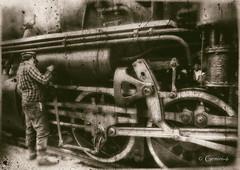 Lubrication Man  (FILM) (* Gemini-6 * (on&off)) Tags: film scanned wheels train locomotive man grunge vintage distressed monochrome blackandwhite machine transportation hss