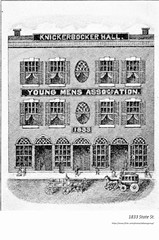 "1833 knickerbocker hall  state st  Young men's assocation  (also refrerred to as the ""Association hall"") (albany group archive) Tags: 1830s old albany ny vintage photos picture photo photograph history historic historical"