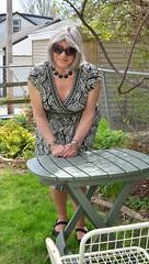 Backyard Briefing (Laurette Victoria) Tags: gray sunglasses dress woman laurette
