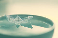"""The brave tiny traveler has already arrived :) (Tashata) Tags: macromondays """"four elements"""" macro minimalism paperboat origami water air closeup tiny style composition depthoffield dof sonyilce7rm2 fe90mmf28macrogoss hmm small little cute dreams"""