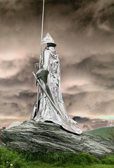 (. Andromeda.) Tags: stainlesssteel sculpture sword stormysky statue rock grass helmet knight knightstemplar