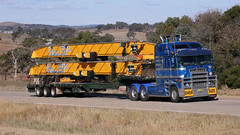 Extendable KENWORTH (2 of 2) (Jungle Jack Movements (ferroequinologist)) Tags: k200 k108 kenworth extendable telescopic trailer gas pipe poly crane manton yass nsw new south wales jerrawa australia hume highway freeway bluedog haulage willaton bargo morwell hp horsepower big rig haul freight cabover trucker drive transport delivery bulk lorry hgv wagon road nose semi deliver cargo vehicle load freighter ship move roll motor engine power teamster truck tractor prime mover diesel injected driver cab loud rumble beast wheel exhaust double b grunt over size