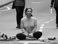 Open Streets Day Edinburgh 014 (byronv2) Tags: openstreets openstreetsedinburgh may may2019 edinburgh edimbourg scotland blackandwhite blackwhite bw monochrome peoplewatching candid street trafficfree woman sitting mat yogamat yoga royalmile