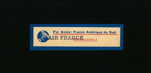 Compagnie Générale Aéropostale / Air France, 1933, Mail Label for South America, last Type, front