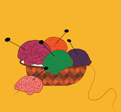 illustration of knitting brains of different colors (illustrationvintage) Tags: concept conceptual symbol creative mind abstract design human isolated graphic brainstorm medical medicine inspiration disease health icon knowledge planning computer learn connection digital thinking think network solution education art innovation business intelligence creativity science head technology illustration idea brain funny comic knit knitting basket imagination psychology psychological intelletcual creation