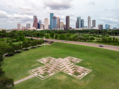 X marks the spot! (RaulCano82) Tags: houston htx htown hou houstontx houstontexas houstonskyline skyline downtown downtownhouston texas tx mavicair mavic air drone dji raulcano city cityscape memorial policeofficersmemorial photography police landscape