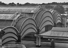 York railway station (@WineAlchemy1) Tags: blackandwhite monochrome nerosubianco noiretblanc blancoynegro york yorkshire railway station architecture roof railways trains