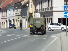 Croatian Army Jeep (sean and nina) Tags: croatia croatian hrvatska army military jeep vehicle soft top khaki yellow number plate service force state road town street candid public balkan balkans eu europe european