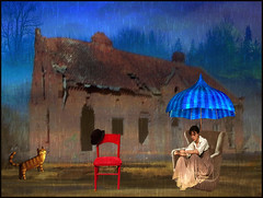 Stuck in the middle of ruined life (bdira3) Tags: emotional sad moody woman empty chair kitten ruined house