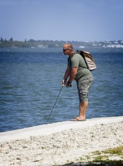Fisherman in camo cargos (LarryJay99 ) Tags: cargo cargopants camouflage camo man men guy guys dude male studly manly dudes handsome people virile bear backpacker urbanbackpacker flipflops bareness barefoot toes headtotoe watersedge fisherman fishing braghettoni